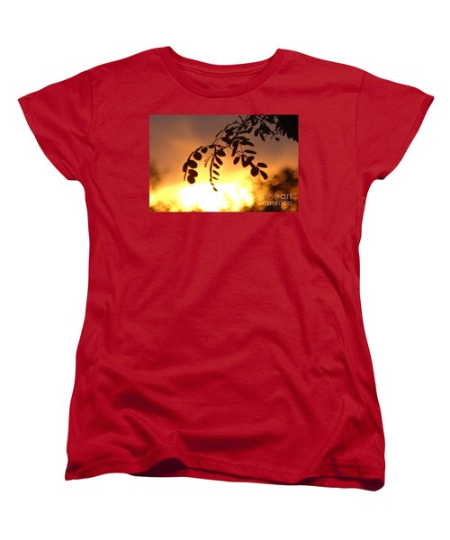 Sunset And Leaves Women's T-Shirt (Standard Cut) by Justin Moore