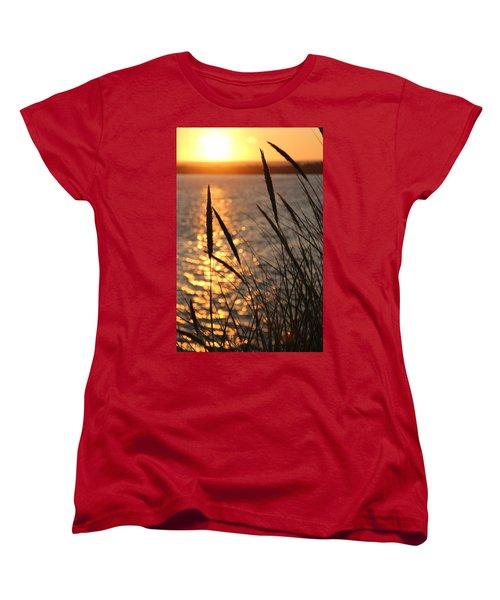 Women's T-Shirt (Standard Cut) featuring the photograph Sunset Beach by Athena Mckinzie