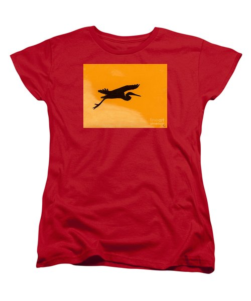 Women's T-Shirt (Standard Cut) featuring the drawing Sunset Flight by D Hackett