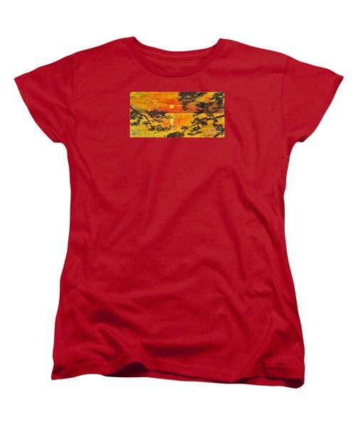 Women's T-Shirt (Standard Cut) featuring the painting Sunset For My Parents by Teresa Wegrzyn