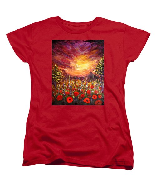 Women's T-Shirt (Standard Cut) featuring the painting Sunset In Poppy Valley  by Lilia D