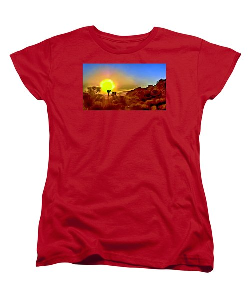 Sunset Joshua Tree National Park V2 Women's T-Shirt (Standard Cut) by Bob and Nadine Johnston