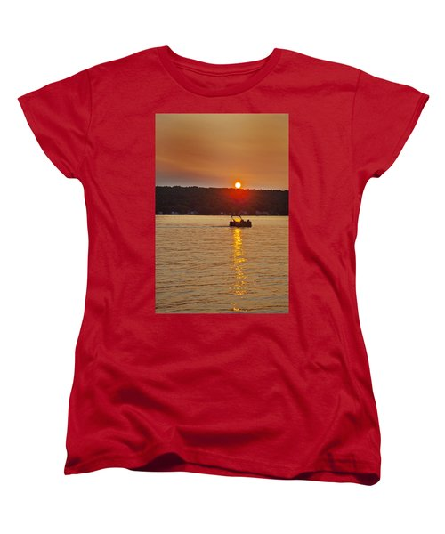 Boating Into The Sunset Women's T-Shirt (Standard Cut) by Richard Engelbrecht