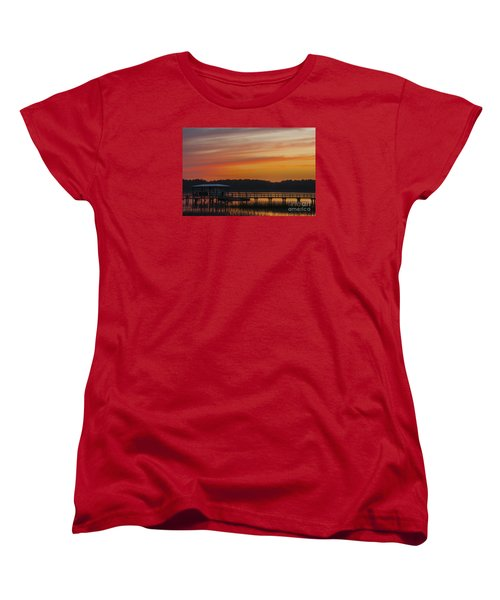 Women's T-Shirt (Standard Cut) featuring the photograph Sunset Over The Wando River by Dale Powell
