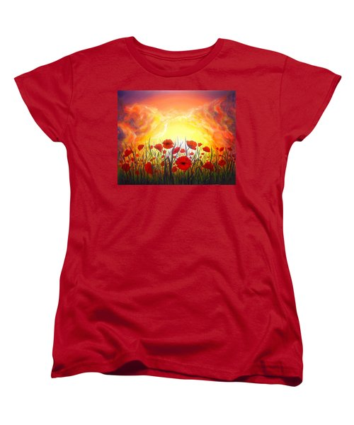Women's T-Shirt (Standard Cut) featuring the painting Sunset Poppies by Lilia D