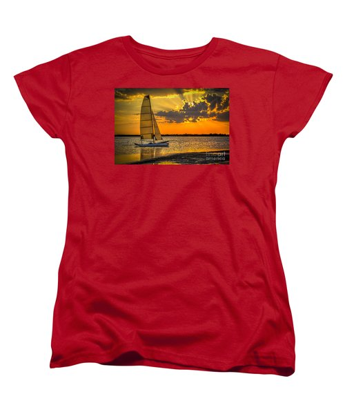 Sunset Sail Women's T-Shirt (Standard Cut) by Marvin Spates