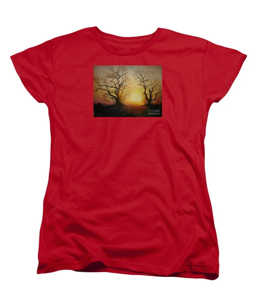 Women's T-Shirt (Standard Cut) featuring the painting Sunset by Sorin Apostolescu