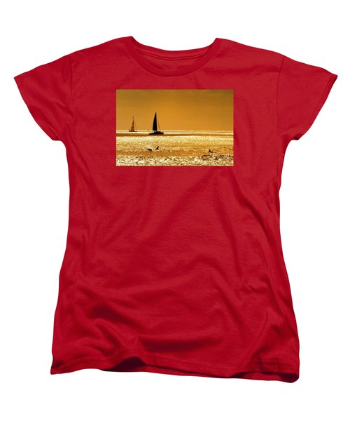 Surfers And Sailboats Women's T-Shirt (Standard Cut) by Kristine Merc