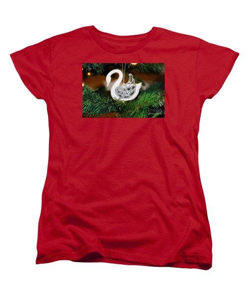 Women's T-Shirt (Standard Cut) featuring the photograph Swans A Swimming by Cassandra Buckley