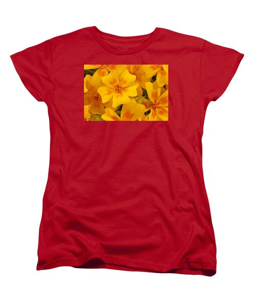 Women's T-Shirt (Standard Cut) featuring the photograph Tagette Marigold Blossoms Macro by Sandra Foster