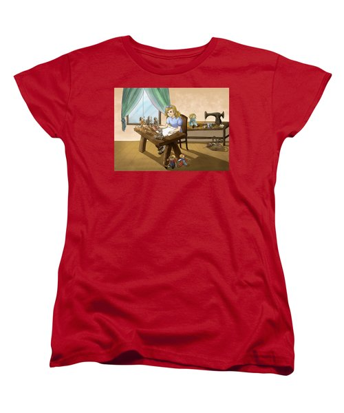 Women's T-Shirt (Standard Cut) featuring the painting Tammy The Little Doll Girl  by Reynold Jay