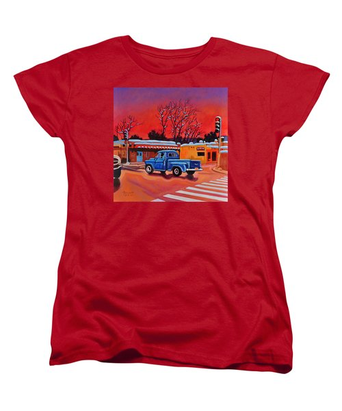 Women's T-Shirt (Standard Cut) featuring the painting Taos Blue Truck At Dusk by Art West