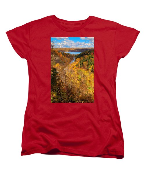 Women's T-Shirt (Standard Cut) featuring the photograph Taughannock River Canyon In Colorful Fall Ithaca New York by Paul Ge