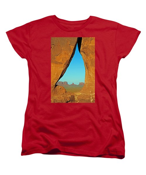 Tear Drop Arch Monument Valley Women's T-Shirt (Standard Cut) by Jeff Brunton