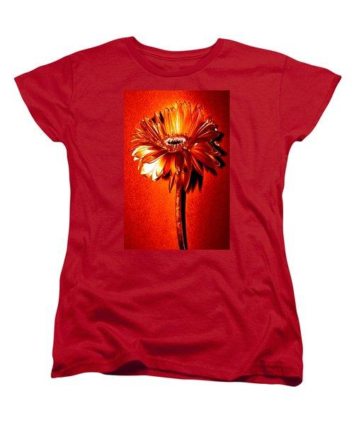 Tequila Sunrise Zinnia Women's T-Shirt (Standard Cut) by Sherry Allen