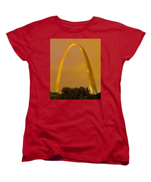 The Arch In The Glow Of St Louis City Lights At Night Women's T-Shirt (Standard Cut) by Garry McMichael