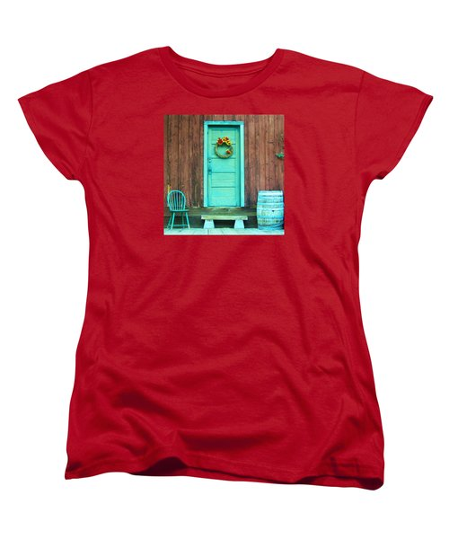 Women's T-Shirt (Standard Cut) featuring the photograph The Blue Door by Marilyn Diaz