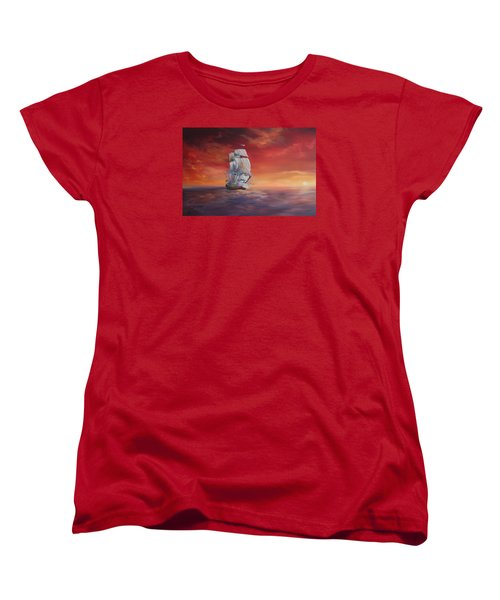 Women's T-Shirt (Standard Cut) featuring the painting The Endeavour On Calm Seas by Jean Walker