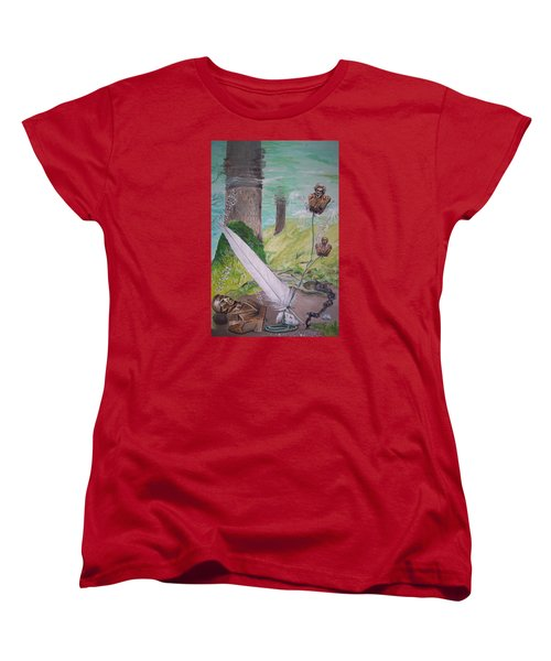 Women's T-Shirt (Standard Cut) featuring the painting The Feather And The Word La Pluma Y La Palabra by Lazaro Hurtado