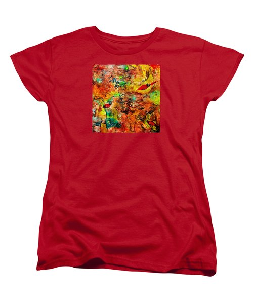 Women's T-Shirt (Standard Cut) featuring the painting The Forest Floor by Carolyn Repka