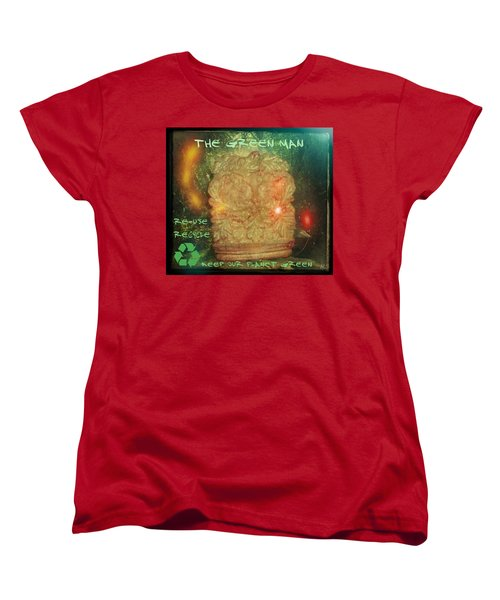 Women's T-Shirt (Standard Cut) featuring the photograph The Green Man - Recycle by Absinthe Art By Michelle LeAnn Scott