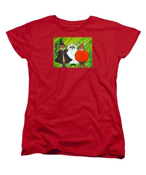 Women's T-Shirt (Standard Cut) featuring the painting The Halloween Gang by Jennifer Lake