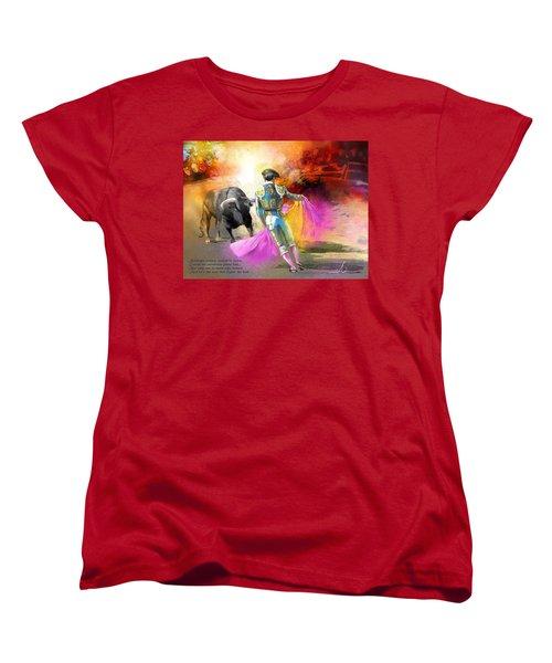The Man Who Fights The Bull Women's T-Shirt (Standard Cut) by Miki De Goodaboom