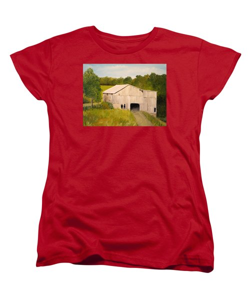 Women's T-Shirt (Standard Cut) featuring the painting The Old Barn by Alan Lakin