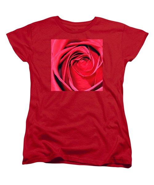 The Red Rose Blooming Women's T-Shirt (Standard Cut) by Karon Melillo DeVega