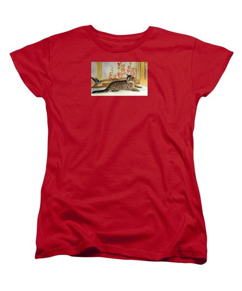 Women's T-Shirt (Standard Cut) featuring the painting The Visitor by Angela Davies