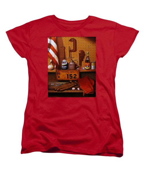 Women's T-Shirt (Standard Cut) featuring the painting The Workshop by Gene Gregory