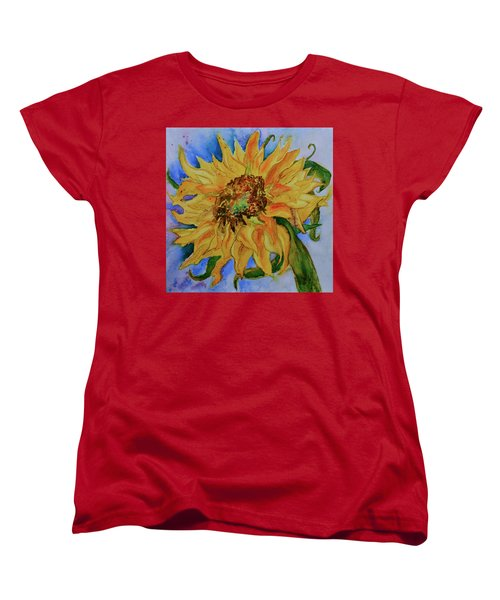 Women's T-Shirt (Standard Cut) featuring the painting This Here Sunflower by Beverley Harper Tinsley