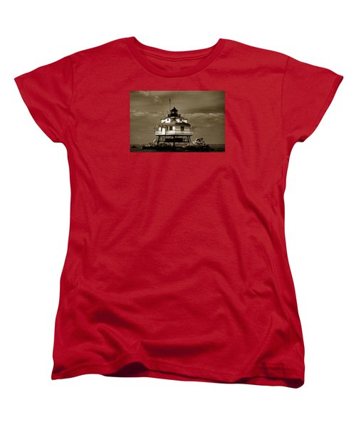 Thomas Point Shoal Lighthouse Sepia Women's T-Shirt (Standard Cut) by Skip Willits