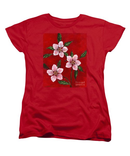 Three Blossoms On Red Women's T-Shirt (Standard Cut)