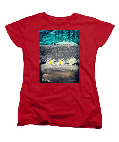 Women's T-Shirt (Standard Cut) featuring the photograph Three Daisies Stuck In A Door by Silvia Ganora