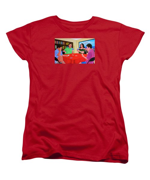 Three Men And A Lady Playing Cards Women's T-Shirt (Standard Cut) by Cyril Maza
