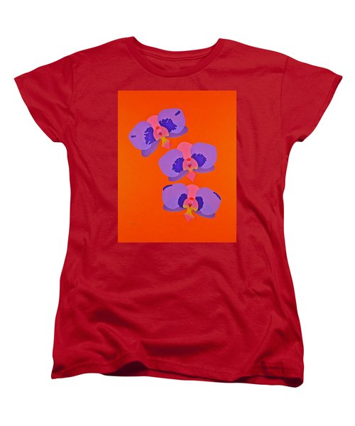 Women's T-Shirt (Standard Cut) featuring the mixed media Three Orchids by Michele Myers