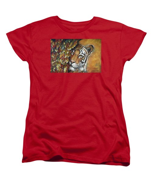 Women's T-Shirt (Standard Cut) featuring the painting Tiger 300711 by Selena Boron