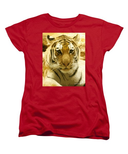 Women's T-Shirt (Standard Cut) featuring the digital art Tiger Eyes by Erika Weber