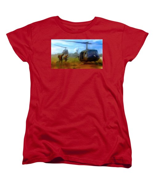 Women's T-Shirt (Standard Cut) featuring the painting Time Sacrificed II Vietnam Veterans  by Iconic Images Art Gallery David Pucciarelli
