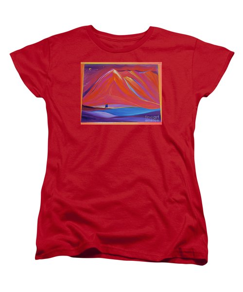 Women's T-Shirt (Standard Cut) featuring the painting Travelers Pink Mountains by First Star Art