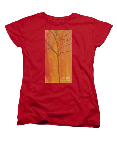 Women's T-Shirt (Standard Cut) featuring the painting Tree Of Three Coral by Robin Maria Pedrero