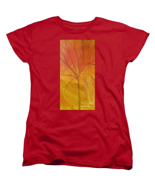 Women's T-Shirt (Standard Cut) featuring the painting Tree Of Three Gold by Robin Maria Pedrero
