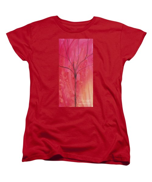 Women's T-Shirt (Standard Cut) featuring the painting Tree Of Three Pink by Robin Maria Pedrero