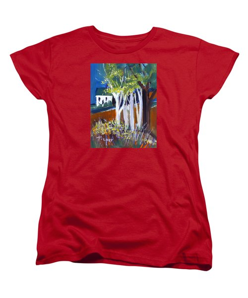Trees And White Farm House Women's T-Shirt (Standard Cut) by Betty Pieper