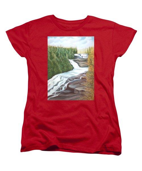 Triple Falls Women's T-Shirt (Standard Cut) by Stacy C Bottoms