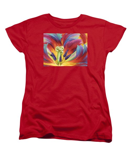 Women's T-Shirt (Standard Cut) featuring the painting Tulip Color Study by Jane Girardot