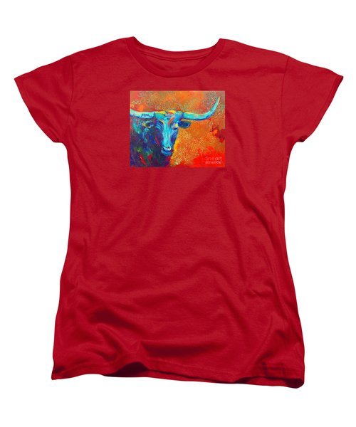 Women's T-Shirt (Standard Cut) featuring the painting Turquoise Longhorn by Karen Kennedy Chatham