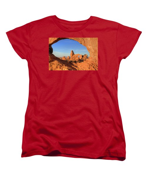Women's T-Shirt (Standard Cut) featuring the photograph Turret Arch Through North Window by Alan Vance Ley