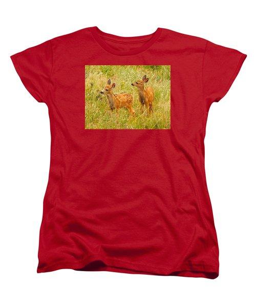 Twin Fawns Women's T-Shirt (Standard Cut) by Dan Miller